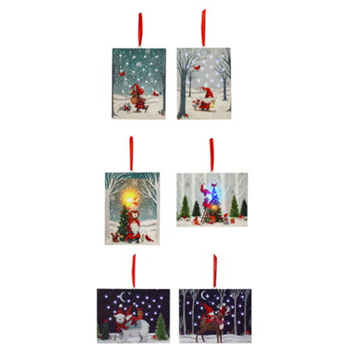 LED Light Up Gnomes Scene Canvas Ornaments