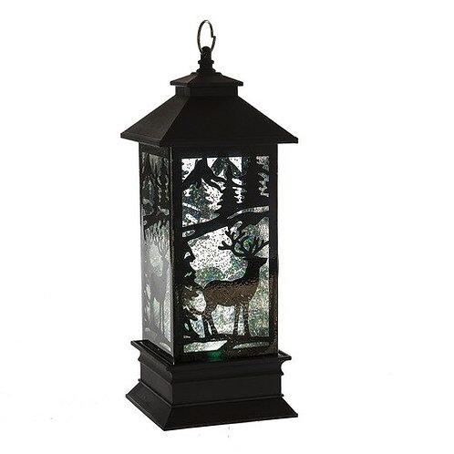 Black Lighted LED Shimmer Deer Lantern