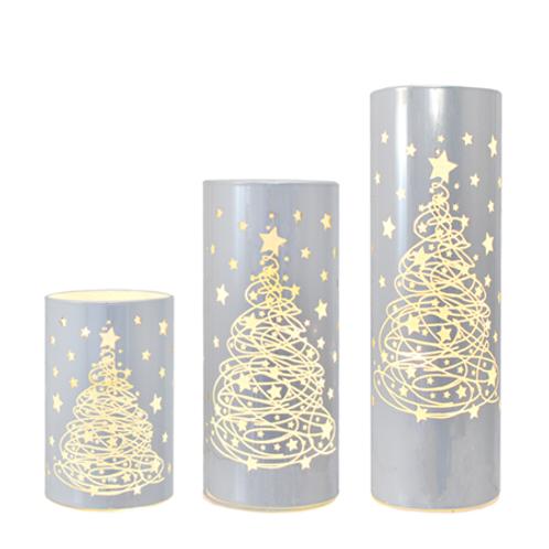 LED Light Up Etched Tree Lantern Set of 3