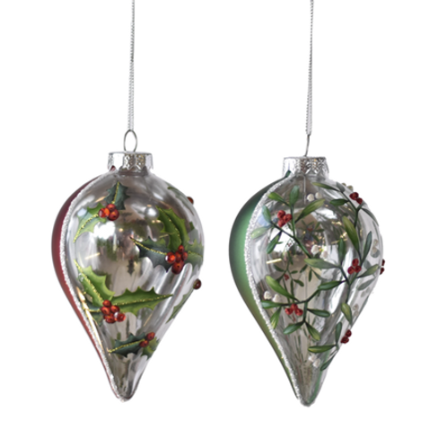 Painted Holly & Mistletoe Ornaments