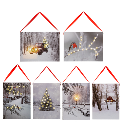 LED Light Up Winter Scene Wall Decor Canvas