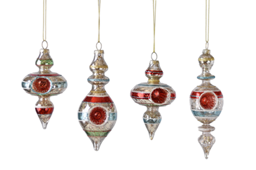 Witches Eye Striped Finial Ornaments