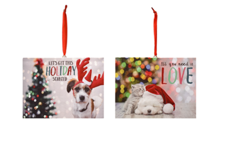 LED Light Up Dog Canvas Ornaments w Easel