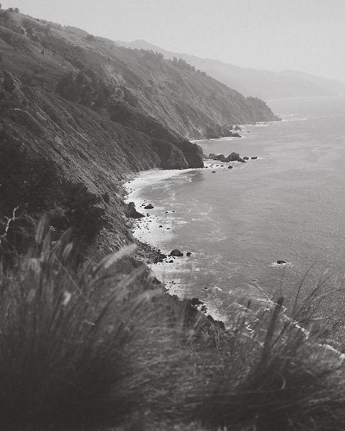 Black and White photo of Big Sur Coastline