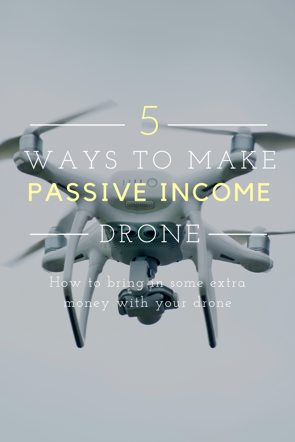 flying drone title says 5 ways to make passive income with your drone. how to bring in extra  money with your drone
