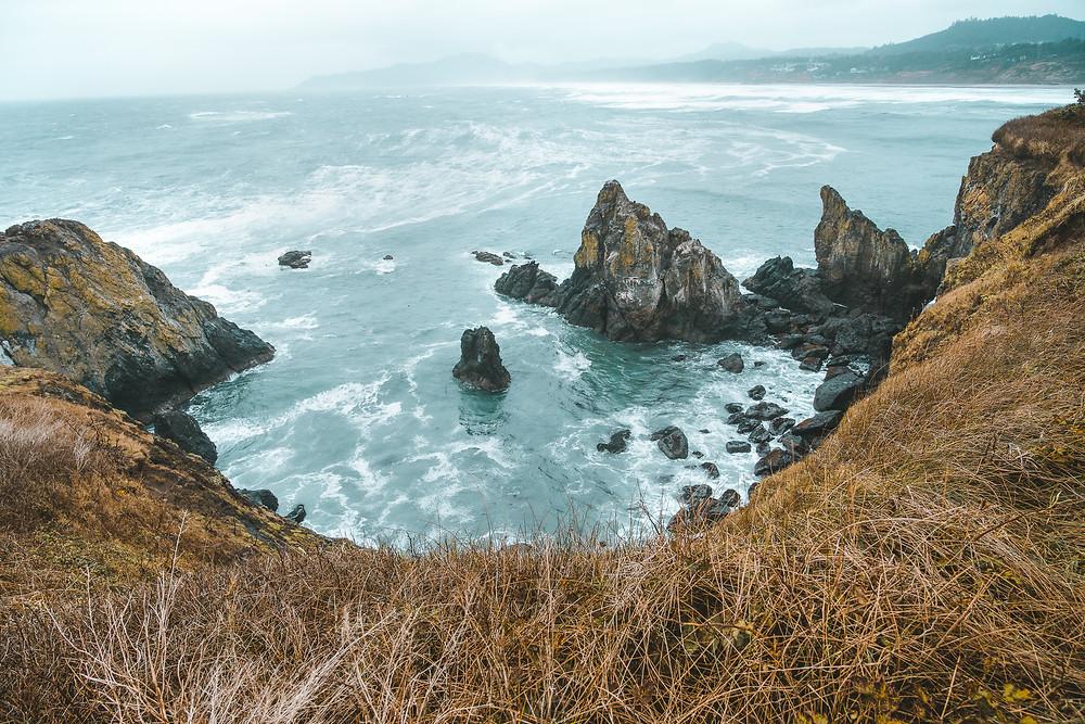 Views of Oregon Coast from Yaquina Head Lighthouse