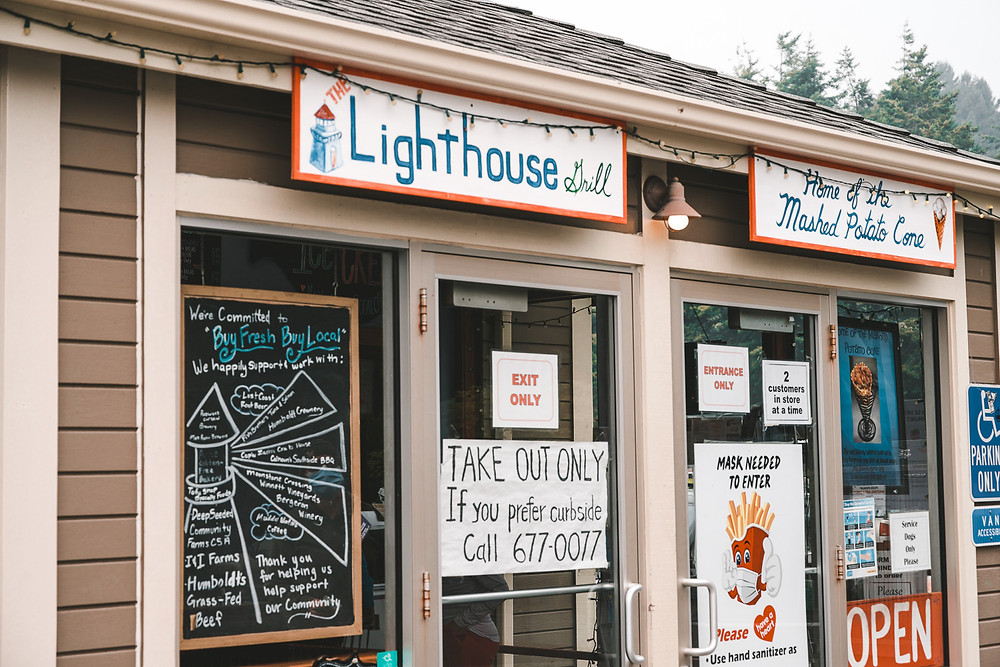 The Lighthouse Grill in Trinidad, California - serving up the famous Mashed Potato Cone!