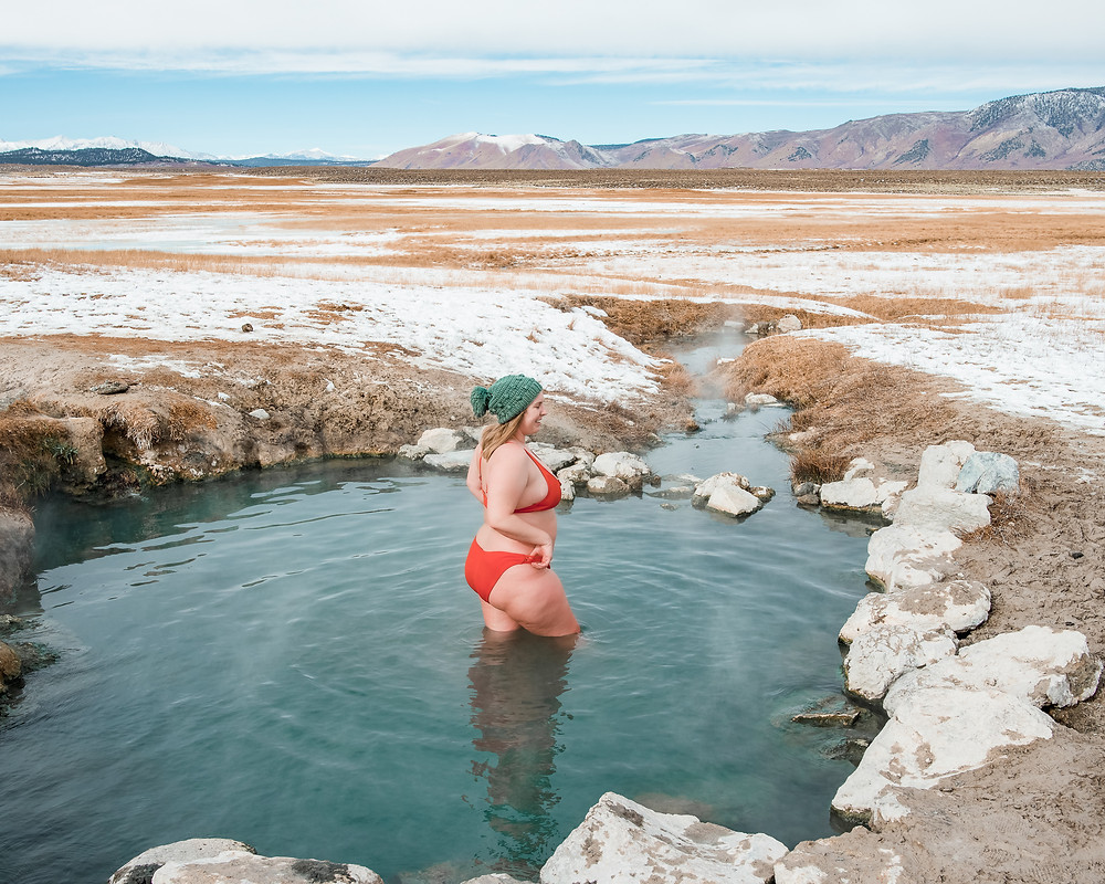 Soaking in Wild Willys Hot Spring in Mammoth Lakes on HWY 395