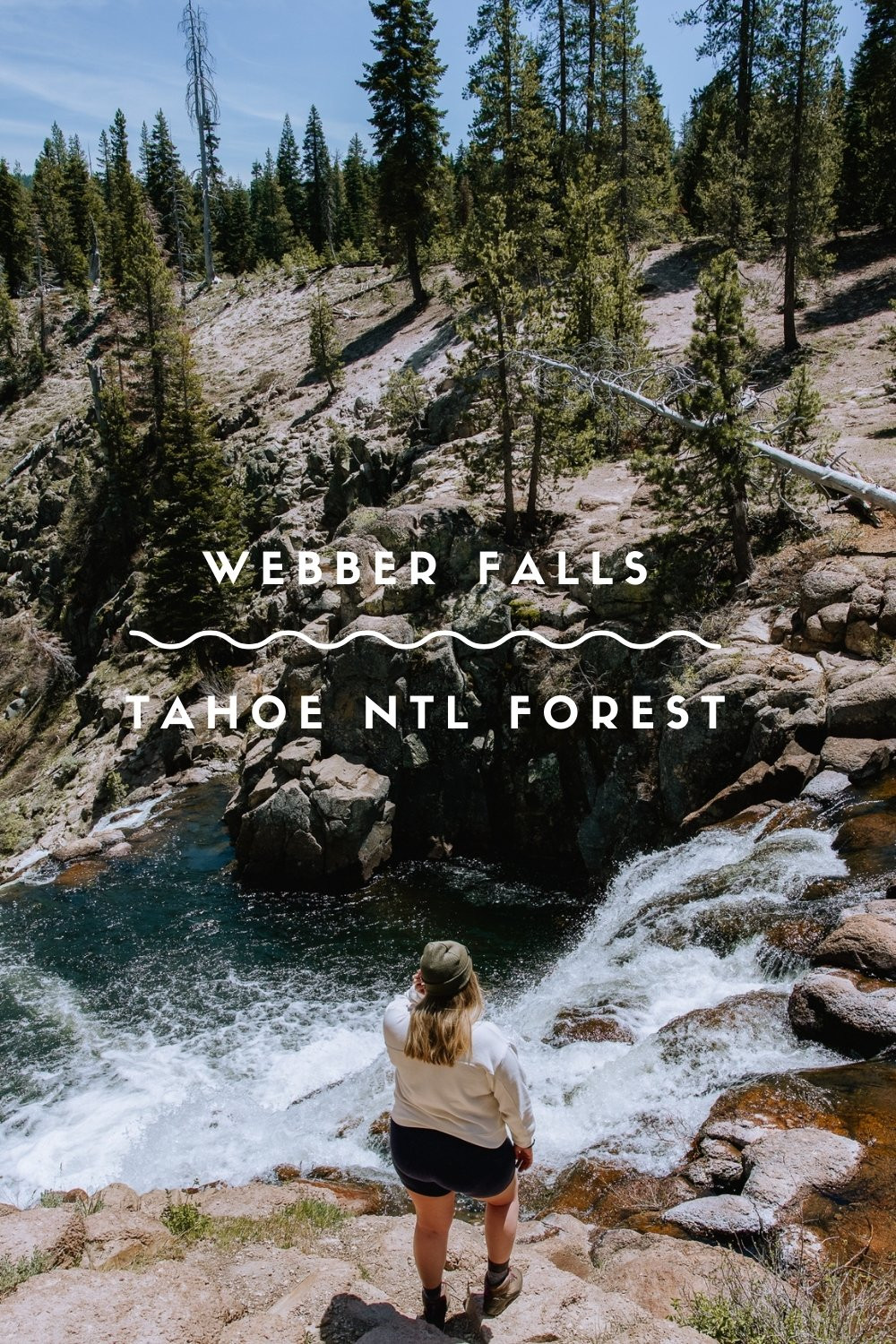 Girl Hiking to Webber Falls Tahoe National Forest