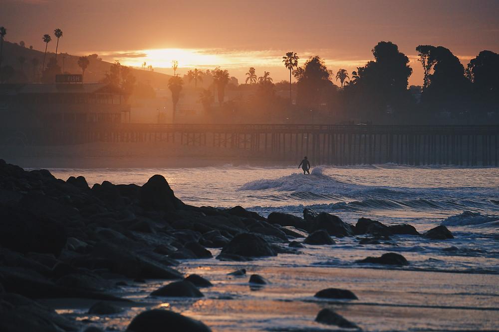 Surfer in water at Ventura Pier | Ventura, CA