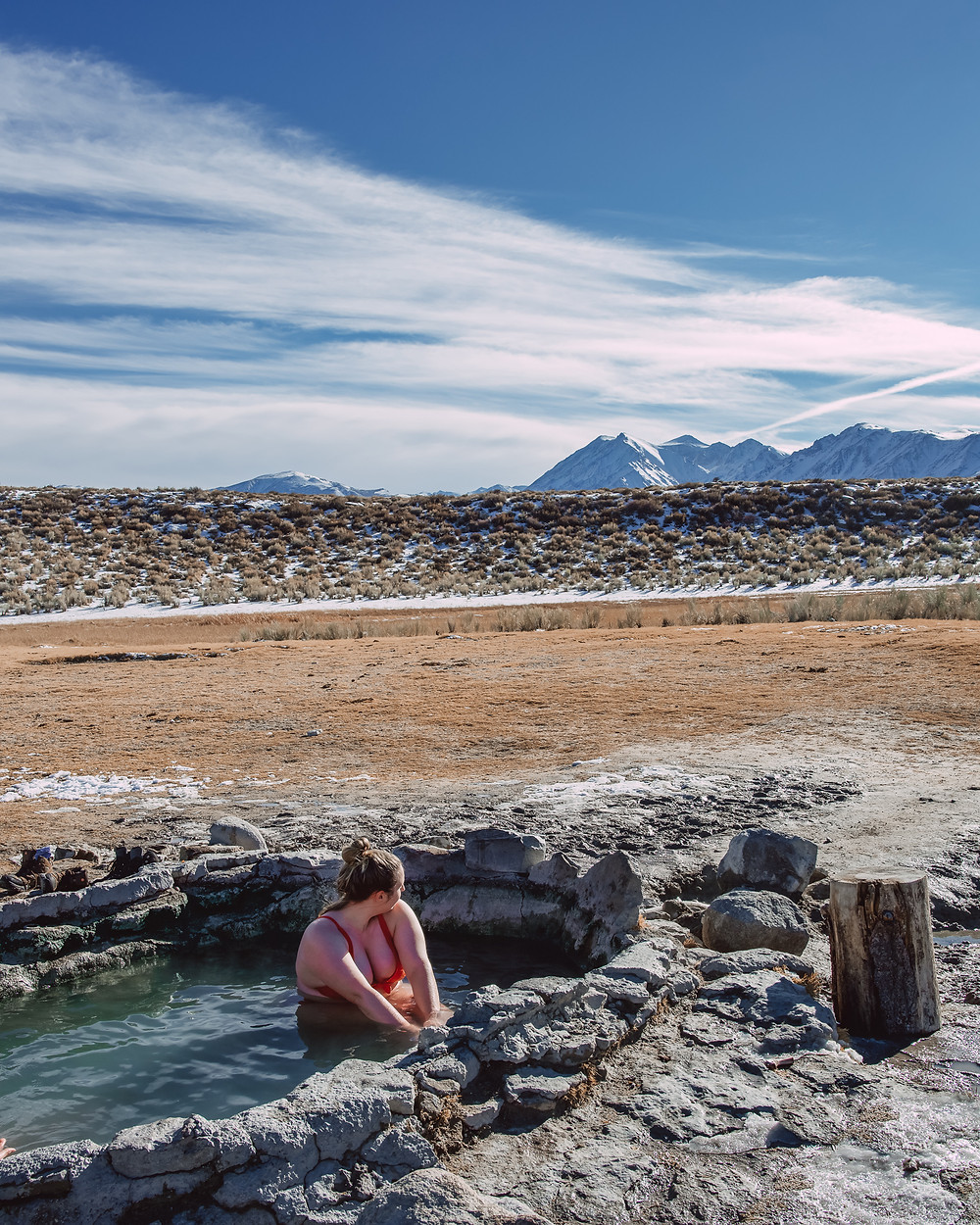 Soaking in Crab Cooker Hot Springs off HWY 395 in Mammoth