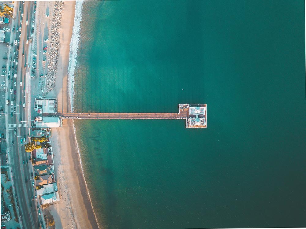 Drone Image of Malibu Pier in California