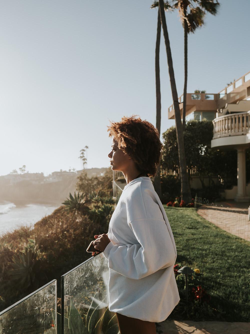 woman enjoying workcation by the beach in La Jolla california