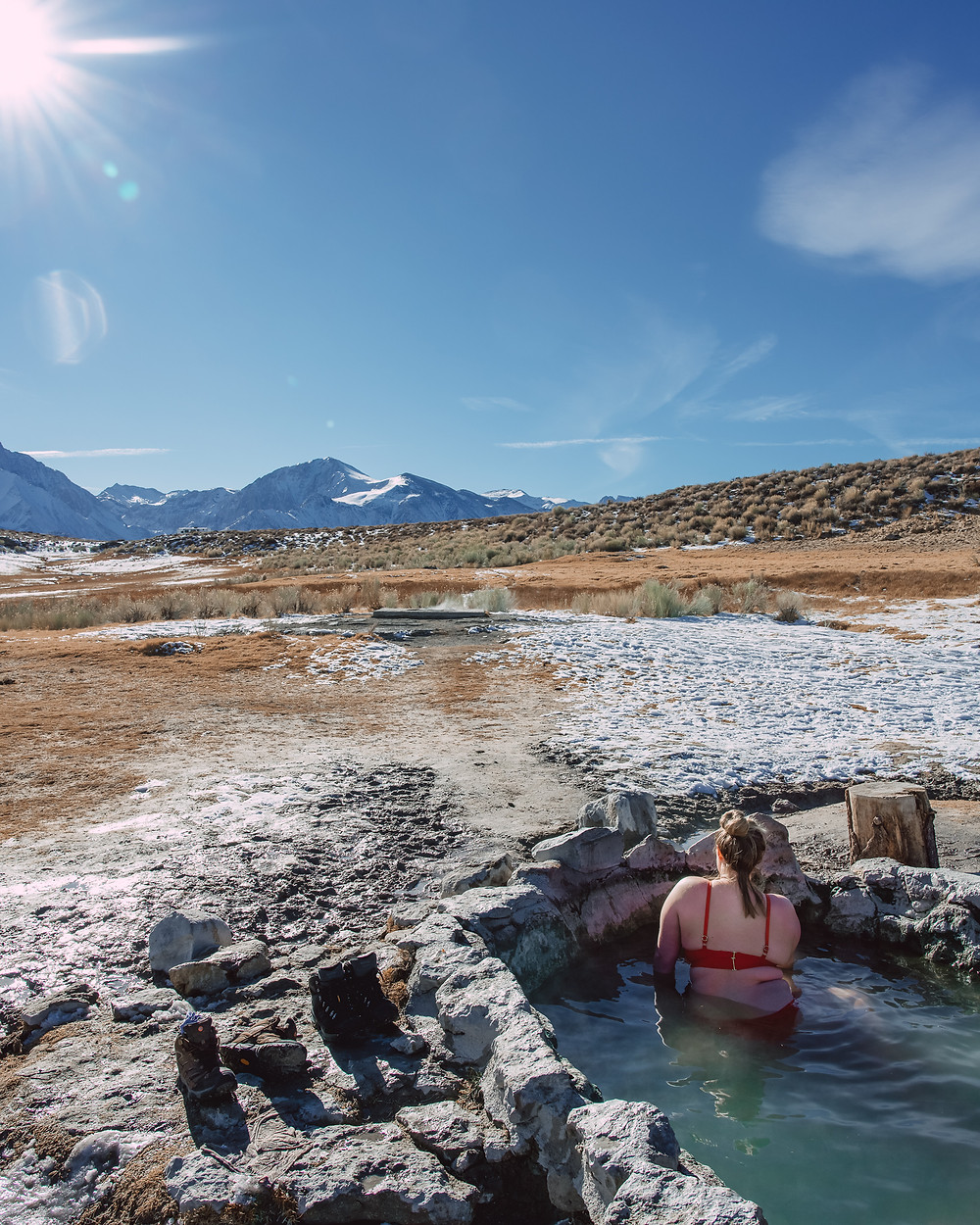 Soaking in Crab Cooker Hot Springs Mammoth Lakes