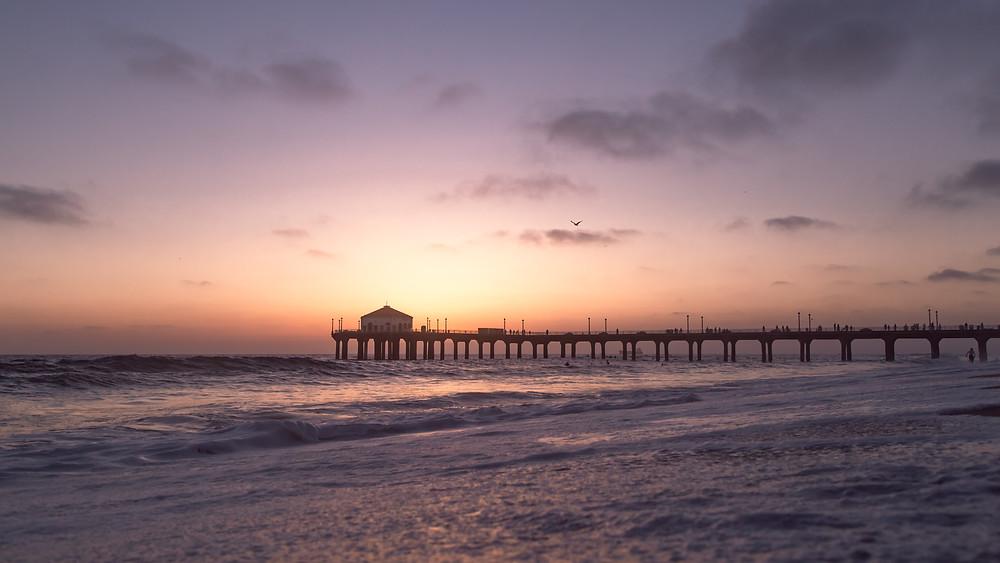 Manhattan Beach Pier in California at Sunset