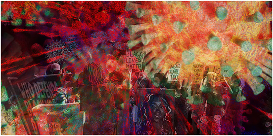 """MICHAEL PADWEEhttps://www.irva.studio/michael-padwee-photographic-artist.html  Pandemic Series #1, 2020 Photo collage printed on an aluminum panel 24"""" x 12"""" $750  """"I've used my cameras to document the anti-Vietnam War, the anti-nuclear, and the New York City labor movements since the 1960s.   As a member of the """"Minority Photographers"""" group in the 1970s, I participated in a number of exhibits throughout New York City and the metropolitan area, and I'm a founder of the IRVA.studio collective. I am currently co-authoring a monograph about stained and dalle de verre glass artist Robert Pinart, and I am the author of an architectural blog, """"Architectural Tiles, Glass and Ornamentation"""""""