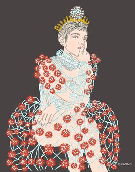 Coronavirus Queen in her formal dress 2020