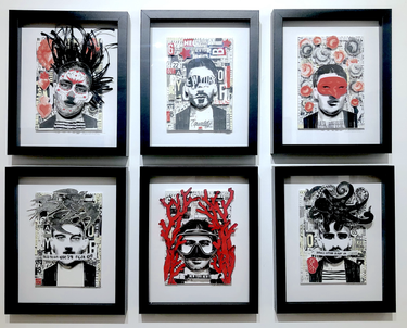 """CARMINE SANTANIELLO www.carcs2@aol.com  Day of the Dead 2020 (top left) Collage 5""""x7"""" $500  Equality 2020 (top middle) Collage 5""""x7"""" $500  Pulcinella 2020 (top right) Collage 5""""x7"""" $500  Do not bend 2020 (bottom left) Collage 5""""x7"""" $500  New York New York 2020 (bottom middle) Collage 5""""x7"""" $500  Handle with care 2020 (bottom right) Collage 5""""x7"""" $500   """"I am greatly inspired by urban images such as graffiti, street art, decaying paint, marred surfaces and natural urban decay. I see them as intriguing environments that work so well to house my figures and portraits. I love the contrast of the beautiful human form in a somewhat abstract urban setting. The juxtaposition of the two - artistically as well as aesthetically - creates an emotionally charged work of art."""""""