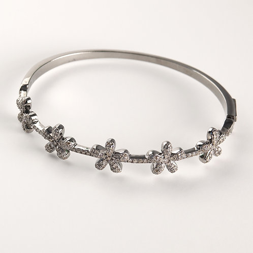Silver Diamond Flower Bracelet