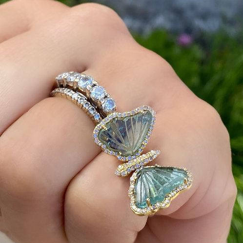 Butterfly Ring Gold Tourmaline Diamond Moss Green One-of-a-Kind