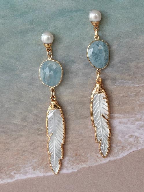 Pearl Aqua Marine Gold Long Earrings Posts