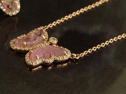 Diamond Pink Tourmaline Butterfly Rose Gold