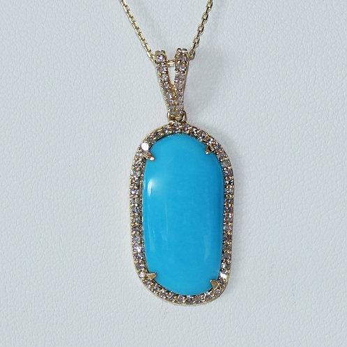 14K Turquoise Diamond Necklace