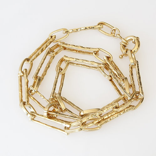 Chunky Gold Hammered Link Chain Necklace