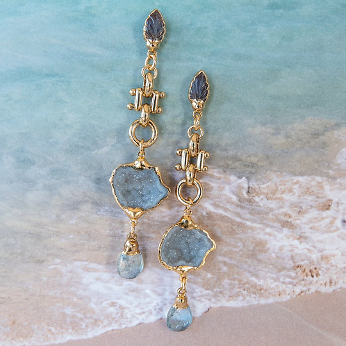 Gold Geode Earrings Gemstone Aquamarine Tanzanite Post Earrings