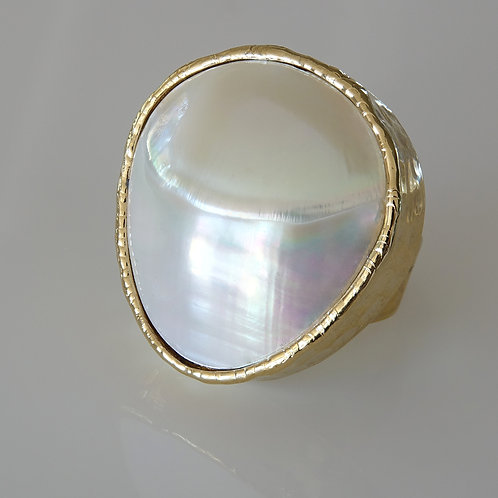 Gold Pearl Statement Ring