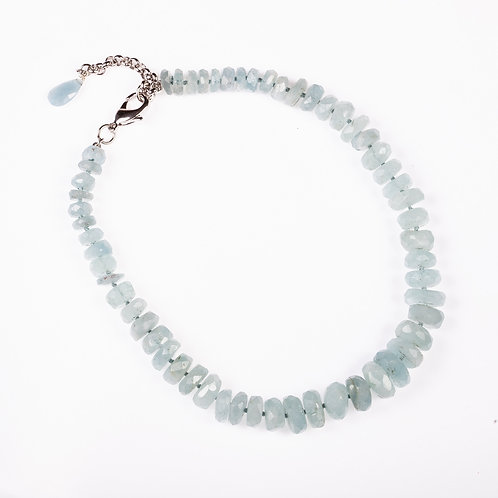 Aquamarine Faceted Nugget Necklace
