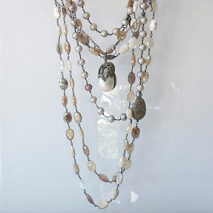 Fresh Water Pearls Pave Diamond Necklace
