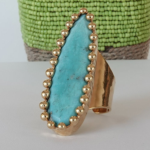 Natural Turquoise Gold Ring Adjustable One of a Kind