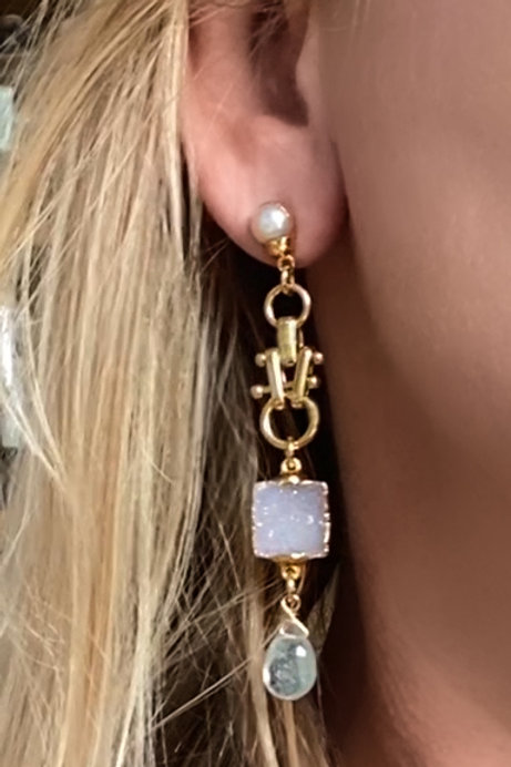 Drusy Post Earring Aquamarine Pearl Gold Druzy