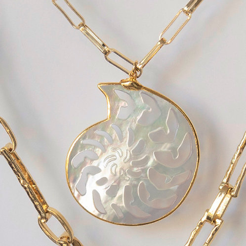 Mother of Pearl Nautilus Shell Necklace