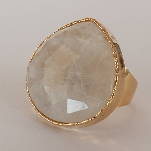 Gold Moonstone Statement Ring
