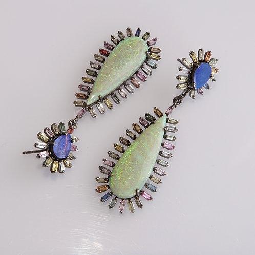 Australian Opal Earrings  Multi Colored Topaz Sterling
