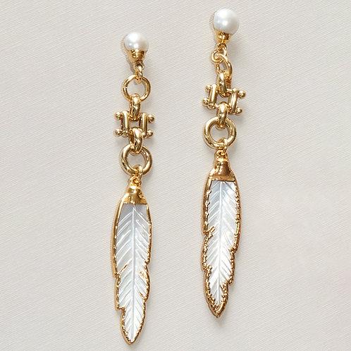 Pearl Gold Long Earrings Posts