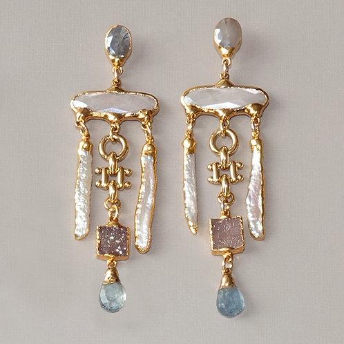 Pearl Gemstone Earrings Statement Posts