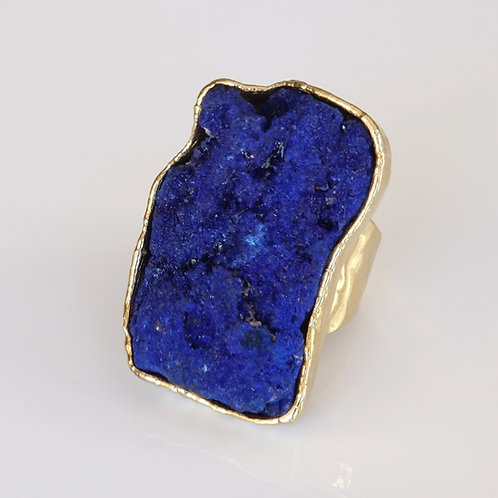 Natural Azurite Stone Gold Ring