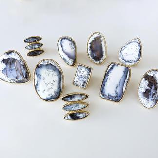 Natural Dandrite White Opal Rings