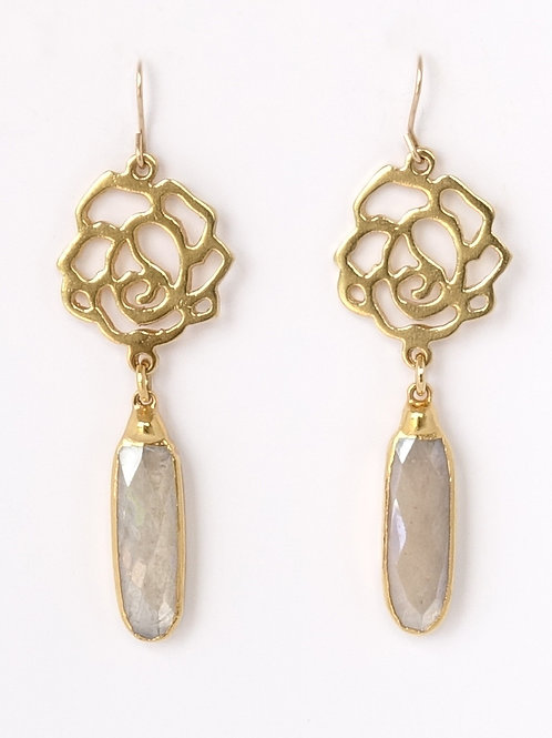 Rose Moonstone Drop Earrings