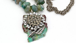 Amazonite with crystal vintage flower