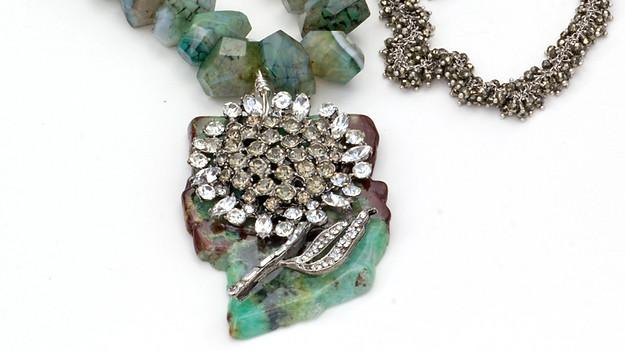 Amazonite with crystal vintage flower