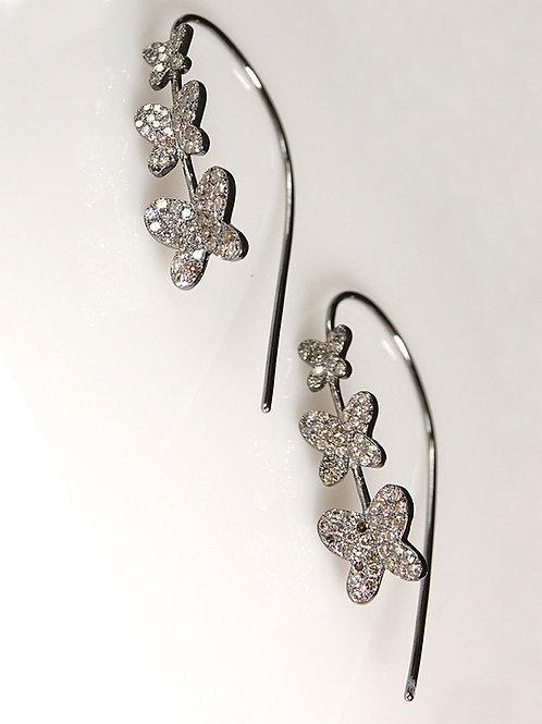 Diamond Butterfly Sterling Wire Earrings