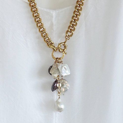 Multi Pearl Gold Necklace