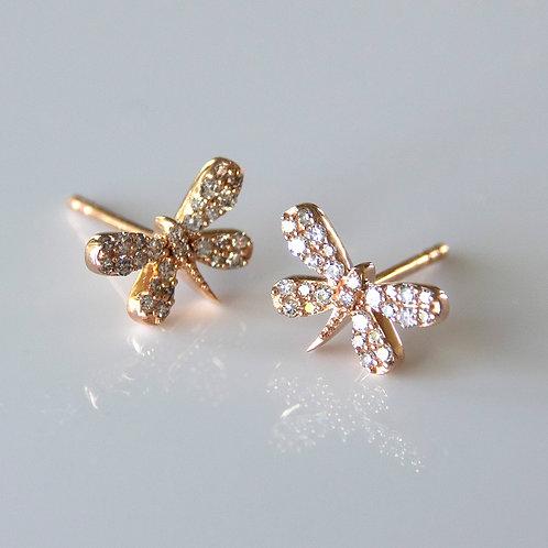14K Rose Gold Diamond Dragonfly Post Earrings