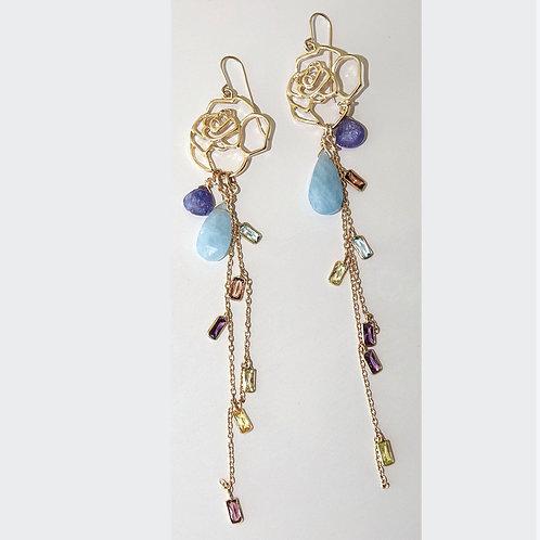 Rose gemstone shoulder duster earrings