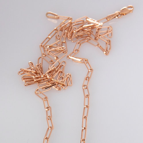 14K Solid Rose Gold Paperclip Chain