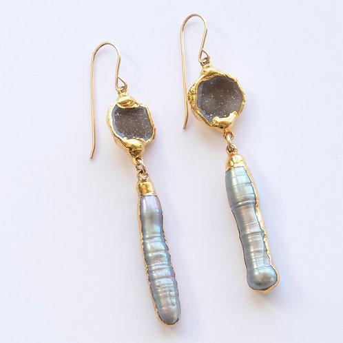 Natural Geode Pearl Earrings